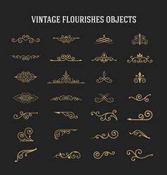set of vintage ornamental flourishes vector image