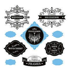 Set of wedding frames and labels vector image vector image