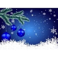 Three blue shiny balls on fir branch Christmas vector image vector image