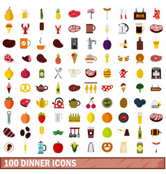 100 dinner icons set flat style vector image vector image