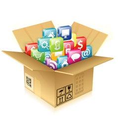 Cardboard Box with Set of Icons vector image