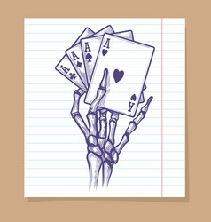 four aces in skeleton hand sketch vector image vector image