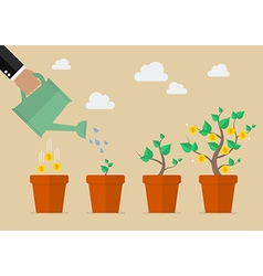 Hand with can watering money tree vector