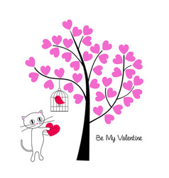 valentines day cat and bird with tree vector image