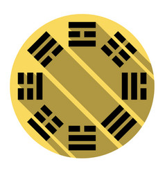 bagua sign flat black icon with flat vector image