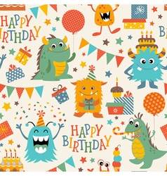 Birthday monsters pattern vector image vector image