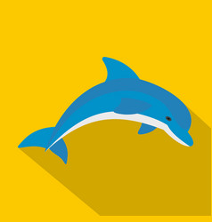 blue dolphin icon flat style vector image