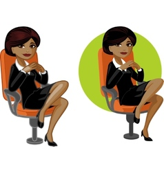 Cute young African American office woman on chair vector image vector image