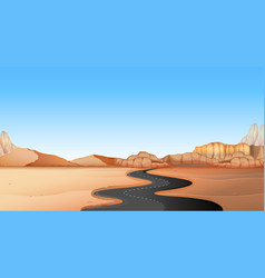 Empty road through desert land vector