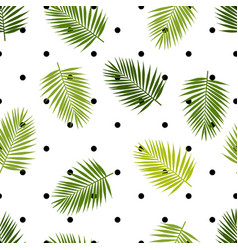 palm leaf silhouettes and polka dot seamless vector image vector image