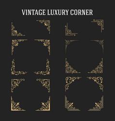 set of vintage luxury corner design vector image
