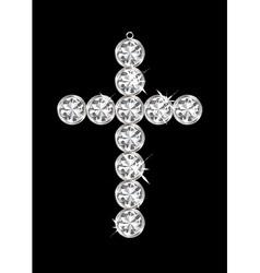 silver diamond cross vector image