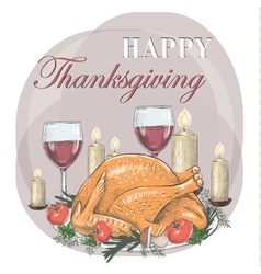 Thanksgiving Day Festive table Postcard vector image