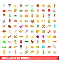 100 grocery icons set cartoon style vector image