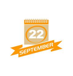22 september calendar with ribbon vector