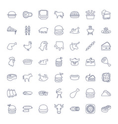 49 meat icons vector