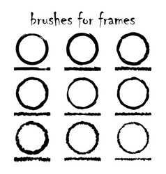 9 texture brushes and frames vector image