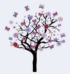 abstract floral tree with flowers and butterflies vector image