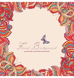 Background with two colored decorative butterflies vector