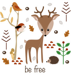 Be free little deer vector