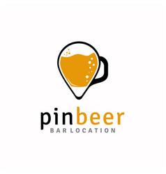 beer mug with pin map modern logo design vector image
