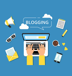 blogging concept picture hands on laptop and vector image