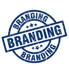 Branding blue round grunge stamp vector