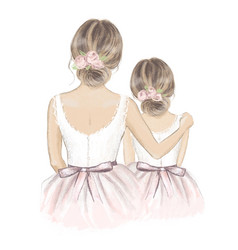 Bride and flower girl hand drawn vector