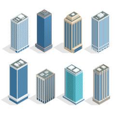 Buildings and modern city houses on 30-40 floors vector
