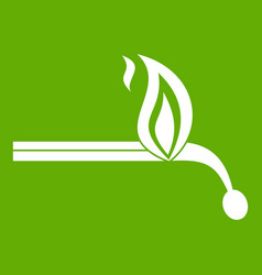 Burning match icon green vector