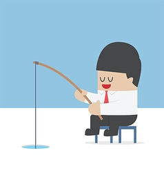 Businessman fishing from a hole on ice vector