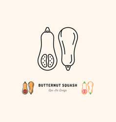 butternut squash icon vegetables logo thin line vector image