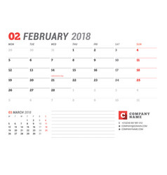 Calendar template for february 2017 business vector