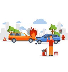 car accident insurance road crash in flat cartoon vector image