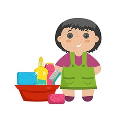 Cartoon character little girl with mop for vector image