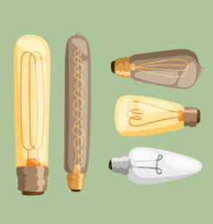 Cartoon lamps light bulb electricity design flat vector