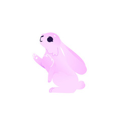 cartoon pink rabbit hare animal vector image