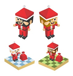 Christmas block isometric cartoon character vector