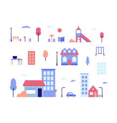 City life - flat design style set of isolated vector
