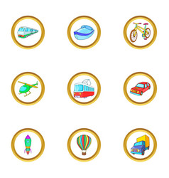 City vehicle icons set cartoon style vector