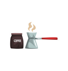 Coffee brewed in cezve and package of coffee vector