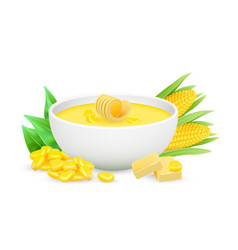 Corn porrige realistic bowl with vector