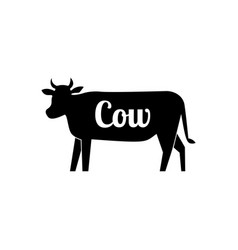 cow butcher black silhouette with text vector image