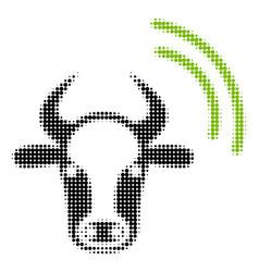 Cow radio signal halftone icon vector