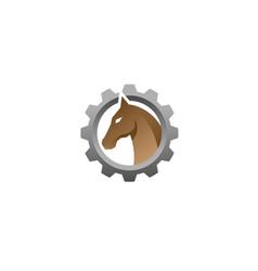 creative horse head gear logo symbol vector image