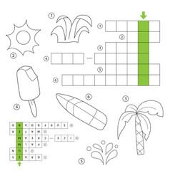 crossword for children theme summer vector image