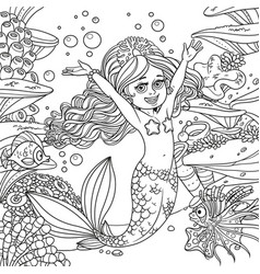cute happy little mermaid girl on underwater vector image