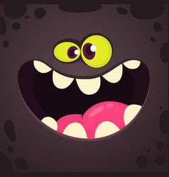 Excited cartoon monster face avatar vector