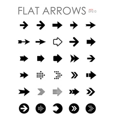 Flat arrow icons set vector