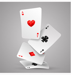 Four aces playing cards falling vector